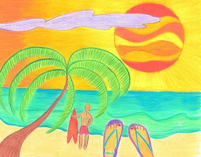Summer Drawing - Tropical Twilight Glow by Geree McDermott
