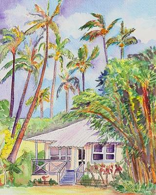 Bamboo House Painting - Tropical Waimea Cottage by Marionette Taboniar