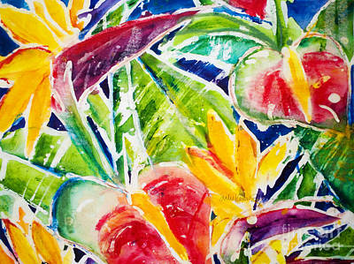 Anthurium Painting - Tropics - Floral by Julie Kerns Schaper - Printscapes
