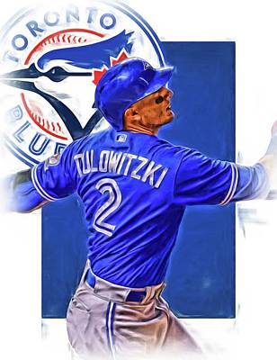 Blue Barn Doors Mixed Media - Troy Tulowitzki Toronto Blue Jays Oil Art by Joe Hamilton