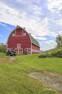 Truck In Front Of Classic Old Red Barn In Vermont Print by Edward Fielding