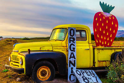 Broken Down Truck Photograph - Truck With Strawberry Sign by Garry Gay