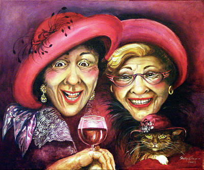 Hatter Painting - Trudy And Grace Play Dressup by Shelly Wilkerson