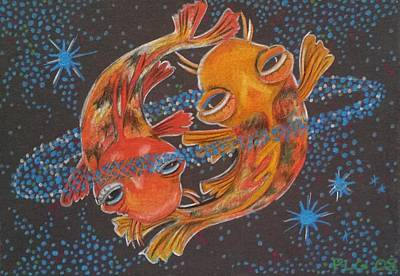 Pisces Fish Drawing - True Love by Peggy Larsen