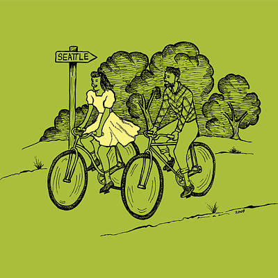 Bike Drawing - True Romance Bike Ride by Karl Addison