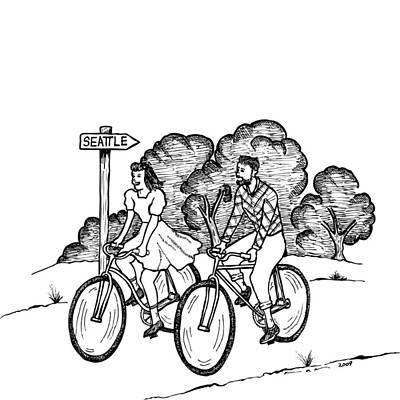 Bike Drawing - True Romance Seattle Bike Ride by Karl Addison