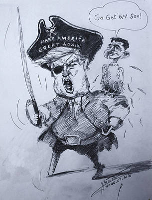 Trump, Short Fingers Pirate With Ryan, The Bird  Print by Ylli Haruni