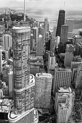 Hancock Building Photograph - Trump Tower And John Hancock Aerial Black And White by Adam Romanowicz
