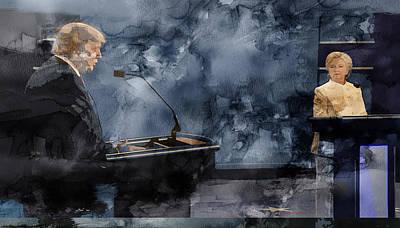 Hillary Clinton Drawing - Trump Vs Clinton 2 by Jani Heinonen