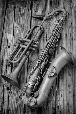 Saxophone Photograph - Trumpet And Sax by Garry Gay