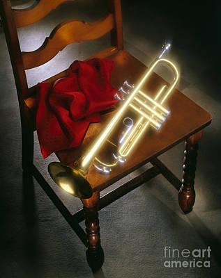 Trumpet On Chair Print by Tony Cordoza