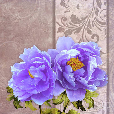 Terra Digital Art - Tryst, Lavender Blue Peonies Still Life Flowers by Tina Lavoie
