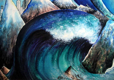 Catastrophe Painting - Tsunami And Mountains. Surreal Art by Sofia Goldberg