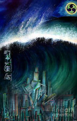 Tsunami That Destroyed Atlantis Print by Sofia Metal Queen