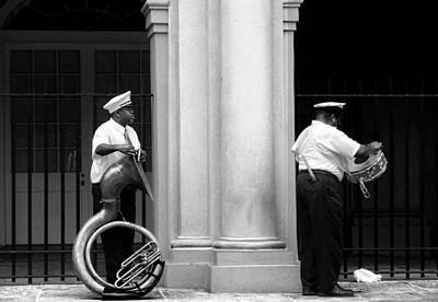 Tuba Player And Drummer Print by Todd Fox