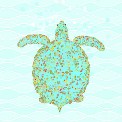Tucker Turtle, Swimming Sea Turtle Coastal Art Print by Tina Lavoie