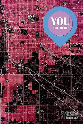 Old Map Digital Art - Tucson Arizona 1957 Red Old Map You Are Here by Pablo Franchi