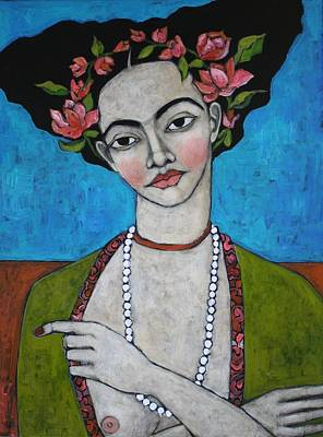 Necklace Painting - Tuesday's Portrait by Jane Spakowsky