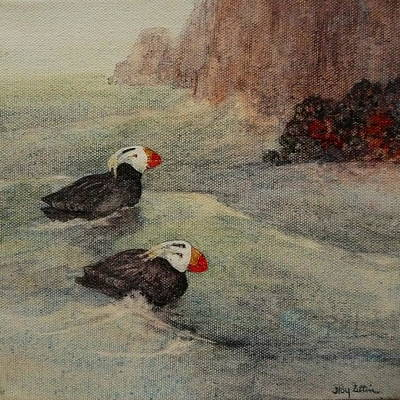 Puffin Painting - Tufted Puffin Pair by Floy Zittin