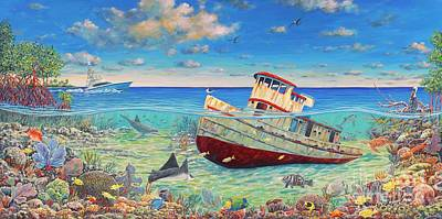 Tug Boat Reef 2 Print by Danielle Perry
