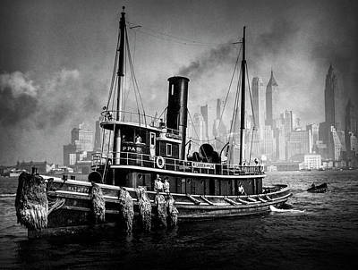 1930s Photograph - Tugboat And Manhattan Skyline 1930's by Visions of History