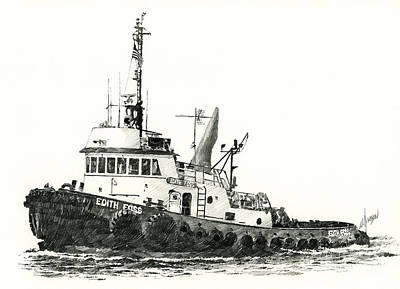 Tugboat Edith Foss Print by James Williamson