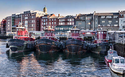 Tugboats In The Harbor Print by Heather Applegate