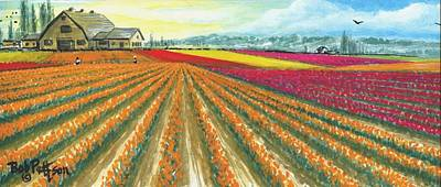 Tulip Festival Painting - Tulip Farm Of Skagit County by Bob Patterson