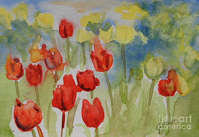 Spring Bulbs Painting - Tulip Field by Gretchen Bjornson