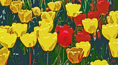 Tulip Digital Art - Tulip Flower Garden Abstract Two by Linda Mears