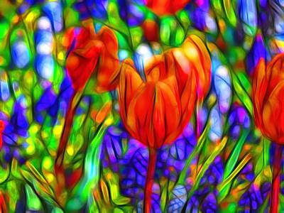 Impressionism Digital Art - Tulips And Bluebells by Jean-Marc Lacombe