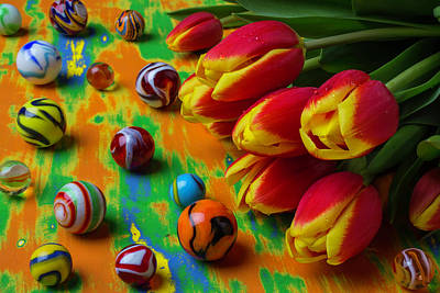 Water Jars Photograph - Tulips And Marbles by Garry Gay