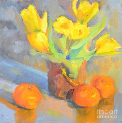 Tangerine Painting - Tulips And Tangerines by Barbara Daggett