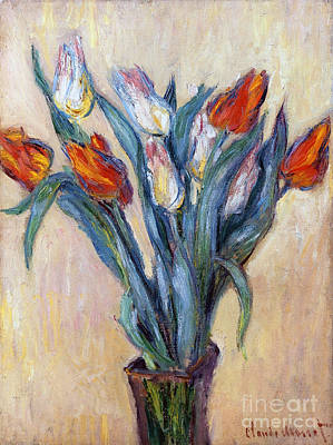 Leaves Painting - Tulips by Claude Monet
