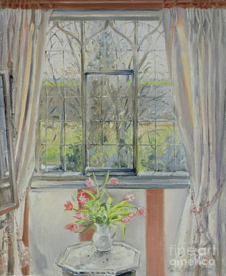 Interior Still Life Painting - Tulips For A January Morning by Timothy Easton