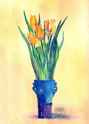 Watercolor Painting - Tulips In A Vase by Arline Wagner