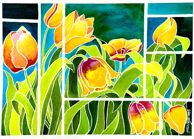 Spring Bulbs Painting - Tulips In Stained Glass by Janis Grau