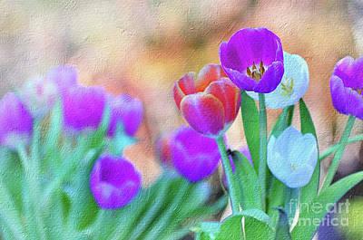 Peach Digital Art - Tulips On Pastel Bokeh Painterly By Kaye Menner by Kaye Menner