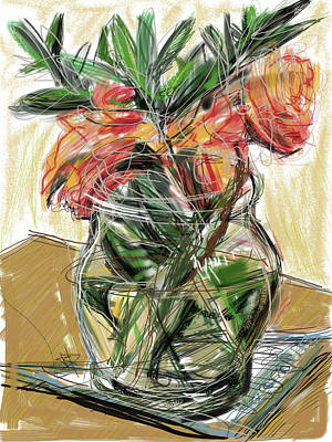 Glass Table Reflection Mixed Media - Tulips by Russell Pierce