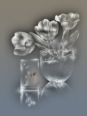 Silver Background Painting - Tulips, Silver Variant by Alexey Kljatov