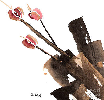 Sumi Painting - Tulips Three by Casey Shannon