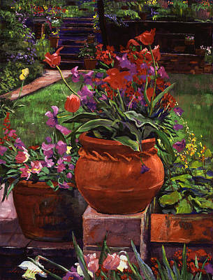 Daffodils Painting - Tulips, Violas And Wallflowers by David Lloyd Glover