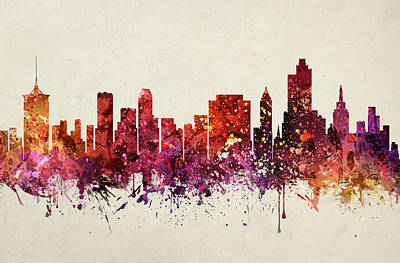 Oklahoma Drawing - Tulsa Cityscape 09 by Aged Pixel