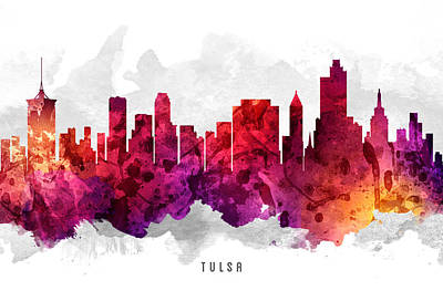 Tulsa Painting - Tulsa Oklahoma Cityscape 14 by Aged Pixel