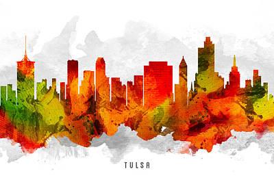 Tulsa Painting - Tulsa Oklahoma Cityscape 15 by Aged Pixel