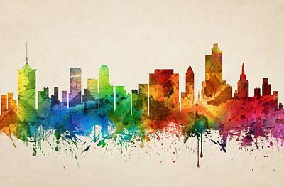 Tulsa Painting - Tulsa Oklahoma Skyline 05 by Aged Pixel