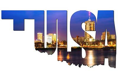 Tulsa Oklahoma Typographic Letters - Riverside View Of Tulsa Oklahoma Skyline Print by Gregory Ballos