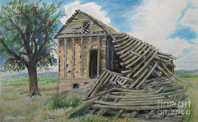 Ghost Towns Drawing - Tumbled Down House by Jeanette Skeem