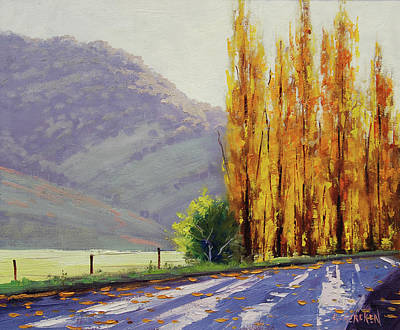 Landscape Oil. Aspen Trees Painting - Tumut Poplars by Graham Gercken