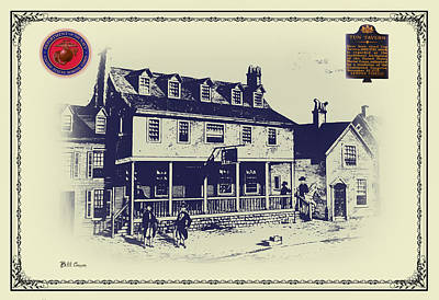 Philadelphia Drawing - Tun Tavern - Birthplace Of The Marine Corps by Bill Cannon